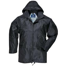 Portwest Men's Classic Rain Jacket black mens NWT zip up hoo