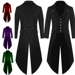 Men's Coat Fashion Steampunk Vintage Tailcoat Jacket Gothic