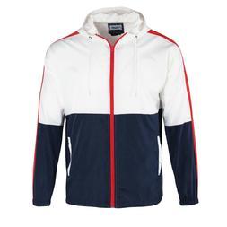 Men's Color Block Hooded Lightweight Windbreaker Zip up Jack