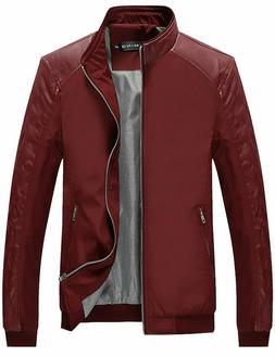 Tanming Men's Color Block Slim Casual Jacket Size L Red