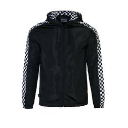 Men's Cool Check Hooded Lightweight Windbreaker Zip up Outdo