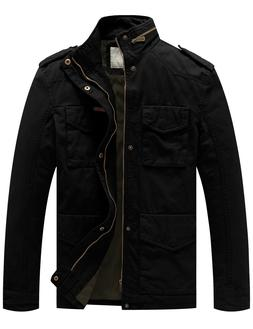 WenVen Men's Cotton Military Jacket Stand-up Collar Windbrea