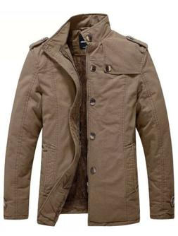 Wantdo Men's Cotton Stand Collar Jacket Coat Parka with Flee