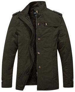 Wantdo Men's Cotton Stand Collar Jacket with Fleece Army Gre