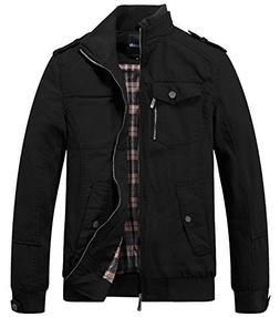 Wantdo Men's Cotton Stand Collar Windbreaker Jacket Large Bl