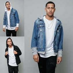 Men's Detachable Hood Layered Look  Distressed  Jean  Denim