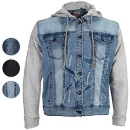CS Men's Distressed Ripped Stretch Denim Jean Jacket with Re