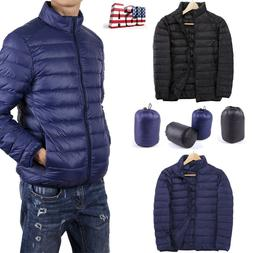 Men's Down Coat Winter Zipper Windproof Outerwear Jacket War
