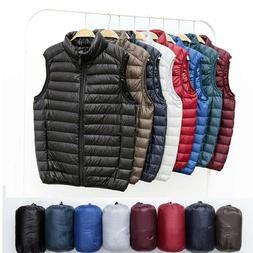 Men's Down Jacket Vest Sleeveless Packable Lightweight Winte