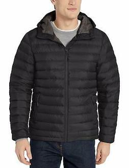 Goodthreads Men's Down Jacket with Hood, Black, X-Large Tall