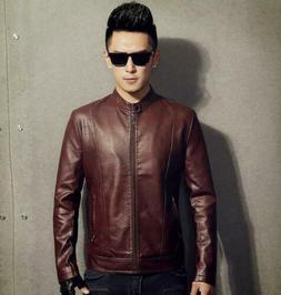 Men's Faux Lambskin Leather Jacket Slim fit Biker Motorcycle