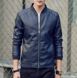 Men's Faux Leather Jacket Biker Motorcycle Coat Black Slim F
