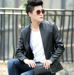Men's Faux Leather Stand Collar Casual Jacket Slim Fit Jacke