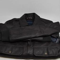 Tommy Hilfiger Men's Faux-Leather Zip-Front Jacket, Dark Bro