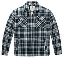 WenVen Men's Flannel Jacket Zip Up Fleece Sherpa Heavy Lined