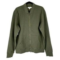 Goodthreads Men's Fleece Bomber Jacket Size Large Olive NEW!