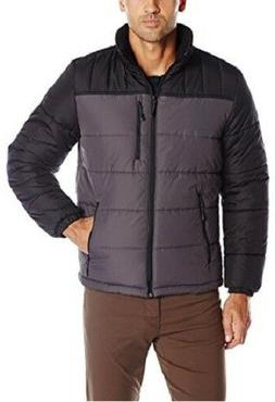 ZeroXposur Men's Flex Quilted Puffer Jacket Coat, Grey, Larg