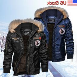 Men's Flight Bomber Jacket Hooded Winter Warm Military Windb