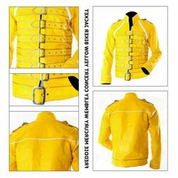 Men's Freddie Mercury Concert Queen Yellow Faux Leather Jack