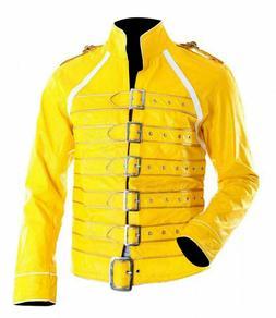 Men's Freddie Mercury Concert Queen Yellow Faux Leather  Jac