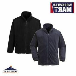 Men's Full Zip Fleece Jacket Soft Polyester Navy & Black S-6