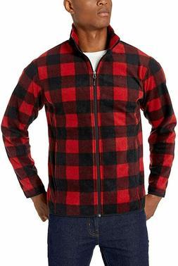 Amazon Essentials Men's Full-Zip Polar Fleece Jacket, Red/Bl