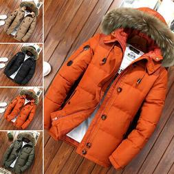Men's Fur Collar Hooded Parka Winter Thicken Jacket Warm Out