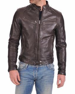 Men's Genuine Lambskin Leather Brown Bomber Slim Fit Biker L