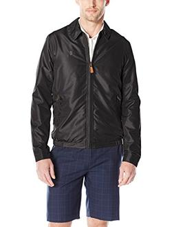 IZOD Men's Golf Jacket with Faux Leather Tabs, Black, Large