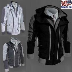 Men's Hooded Jacket Zipper Winter Warm Sweatshirt Hoodie Com