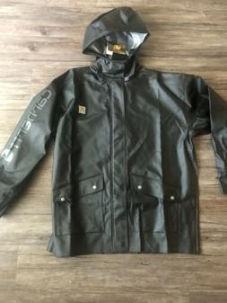 Carhartt Men's Hooded Rain Defender Coat Black jacket Size M