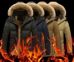 Men's Jackets Thick Fleece Fur Collar Hooded Coats Casual Ja