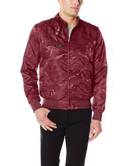 Members Only Men's Jacquard Iconic Racer Jacket, Burgundy Ca