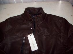 Chouyatou Men's Large Brown Pleather Motorcycle Bomber Jacke