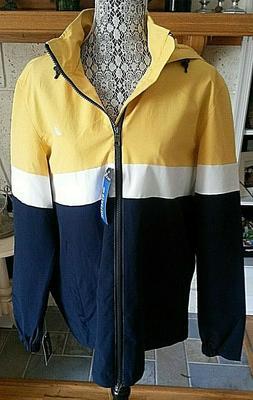 NAUTICA Men's Large Yellow/Blue Colorblock Lightweight Windb
