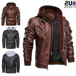 Men's Leather Jacket Slim Fit Hooded Biker Coat Casual Casua
