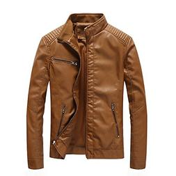 Nantersan Men's Leather Jacket Stand Collar Slim PU Mens Fau