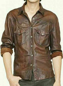 Men's Leather Shirt Genuine Lambskin Soft Brown Vintage Bike