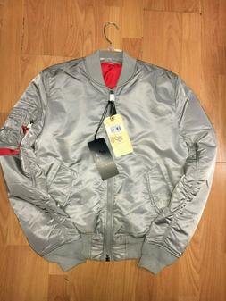 Alpha Industries Men's Ma-1 Slim Jacket Men's silver & red S