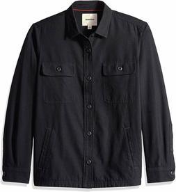 Goodthreads Men's Military Broken Twill Shirt Jacket, Black,