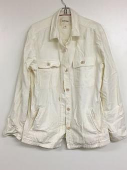 Goodthreads Men's Military Broken Twill Shirt Jacket, Ivory,