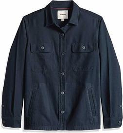 Goodthreads Men's Military Broken Twill Shirt Jacket, Navy,