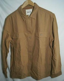 Goodthreads Men's Military Broken Twill Shirt Jacket Khaki L