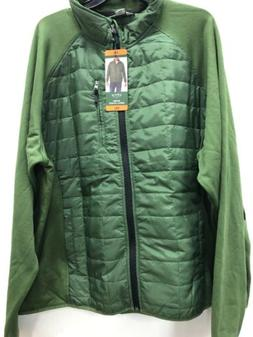 men s mixed media jacket dark sage