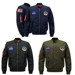 Men's Nasa Bomber Jacket Pilot MA1 Coat Flight Air Force Bas