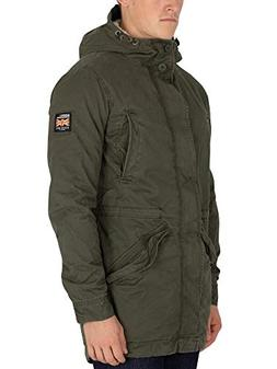 Superdry Men's New Military Parka Jacket, Green, X-Large