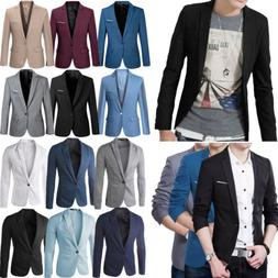 Men's One Button Blazer Suit Slim Fit Formal Business Jacket