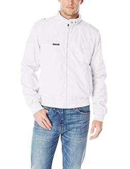 Members Only Men's Original Iconic Racer Jacket, White, Smal