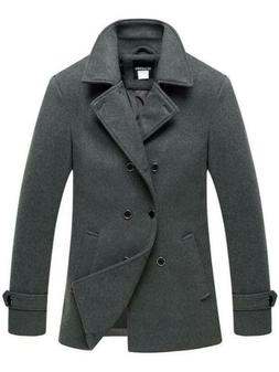 Wantdo Men's Peacoat Jacket Double Breasted Fit Lapel Warm C