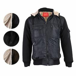 Maximos Men's Premium Hooded Multi Pocket Sherpa Lined Bombe